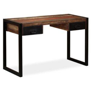 Mesa com 2 gavetas madeira recuperada maciça 120x50x76 cm - PORTES GRÁTIS