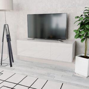 Móvel de TV em aglomerado 120x40x34 cm branco brilhante - PORTES GRÁTIS