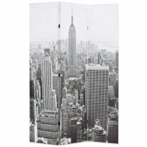 Biombo dobrável Nova Iorque de dia 120x170 cm preto e branco - PORTES GRÁTIS