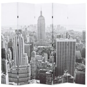 Biombo dobrável Nova Iorque de dia 200x170 cm preto e branco - PORTES GRÁTIS
