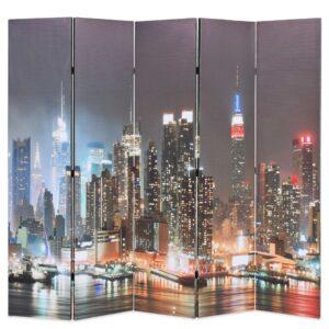 Biombo dobrável Nova Iorque de noite 200x170 cm - PORTES GRÁTIS