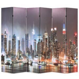 Biombo dobrável Nova Iorque de noite 228x170 cm - PORTES GRÁTIS