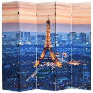 Biombo dobrável Paris à noite 200x170 cm - PORTES GRÁTIS