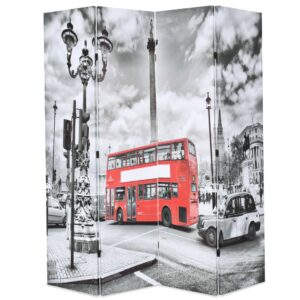 Biombo dobrável autocarro londrino 160x170 cm preto e branco - PORTES GRÁTIS