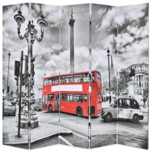 Biombo dobrável autocarro londrino 200x170 cm preto e branco - PORTES GRÁTIS