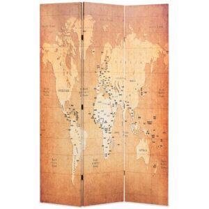 Biombo dobrável mapa mundo 120x170 cm amarelo - PORTES GRÁTIS