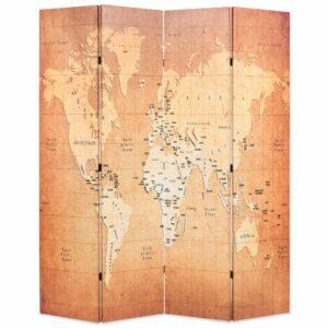 Biombo dobrável mapa mundo 160x170 cm amarelo - PORTES GRÁTIS