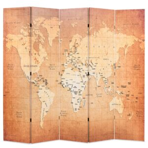 Biombo dobrável mapa mundo 200x170 cm amarelo - PORTES GRÁTIS