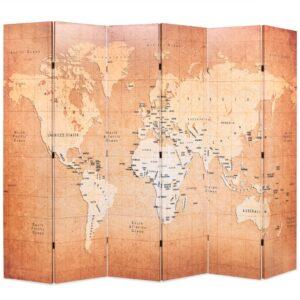 Biombo dobrável mapa mundo 228x170 cm amarelo - PORTES GRÁTIS