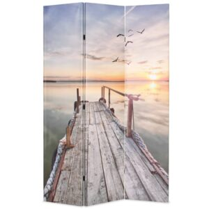 Biombo dobrável com estampa de lago 120x170 cm - PORTES GRÁTIS