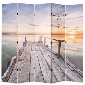 Biombo dobrável com estampa de lago 200x170 cm - PORTES GRÁTIS