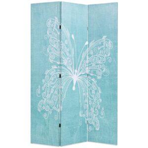 Biombo dobrável com estampa de borboleta azul 120x170 cm - PORTES GRÁTIS