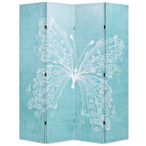 Biombo dobrável com estampa de borboleta azul 160x170 cm - PORTES GRÁTIS