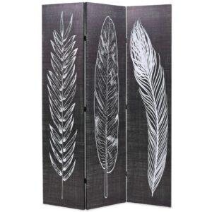 Biombo dobrável com estampa de penas 120x170 cm preto e branco - PORTES GRÁTIS