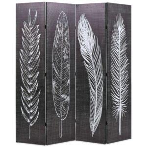 Biombo dobrável com estampa de penas 160x170 cm preto e branco - PORTES GRÁTIS
