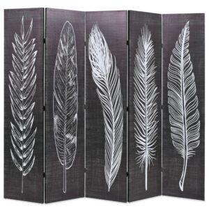 Biombo dobrável com estampa de penas 200x170 cm preto e branco - PORTES GRÁTIS