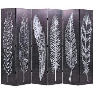 Biombo dobrável com estampa de penas 228x170 cm preto e branco - PORTES GRÁTIS