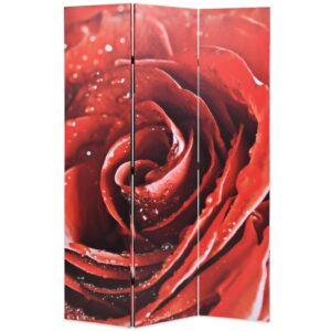 Biombo dobrável com estampa de rosa vermelha 120x170 cm - PORTES GRÁTIS