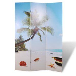 Biombo dobrável com estampa de praia 120x170 cm  - PORTES GRÁTIS