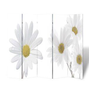 Biombo dobrável com estampa de flores 200x170 cm  - PORTES GRÁTIS