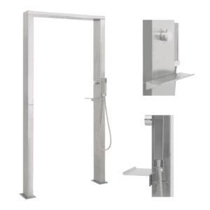 Coluna de duche p/ exterior com jatos duplos em aço inoxidável - PORTES GRÁTIS