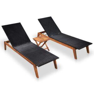 Espreguiçadeiras com mesa 2 pcs vime PE e madeira acácia maciça - PORTES GRÁTIS