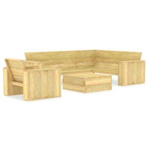 3 pcs conjunto móveis jardim madeira de pinho impregnada - PORTES GRÁTIS