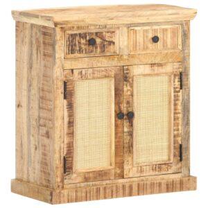 Aparador 65x32x70 cm madeira de mangueira maciça e cana natural - PORTES GRÁTIS
