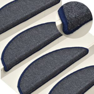Tapete/carpete para degraus 15 pcs 56x17x3 cm cinza-escuro/azul - PORTES GRÁTIS