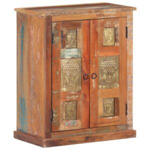 Aparador com budas 60x35x75 cm madeira recuperada maciça - PORTES GRÁTIS