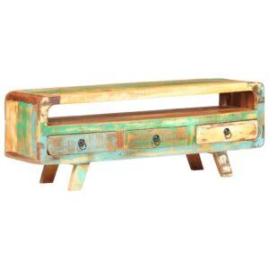 Móvel de TV 117x30x41 cm madeira recuperada maciça  - PORTES GRÁTIS