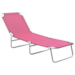 Espreguiçadeira dobrável aço e tecido rosa - PORTES GRÁTIS