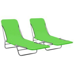 Espreguiçadeiras dobráveis 2 pcs aço e tecido verde - PORTES GRÁTIS