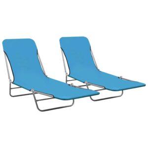 Espreguiçadeiras dobráveis 2 pcs aço e tecido azul - PORTES GRÁTIS