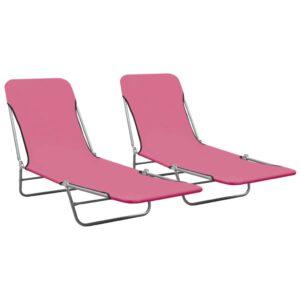 Espreguiçadeiras dobráveis 2 pcs aço e tecido rosa - PORTES GRÁTIS