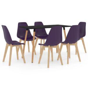 7 pcs conjunto de jantar roxo-escuro - PORTES GRÁTIS