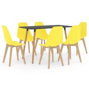 7 pcs conjunto de jantar amarelo - PORTES GRÁTIS