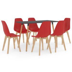 7 pcs conjunto de jantar vermelho - PORTES GRÁTIS