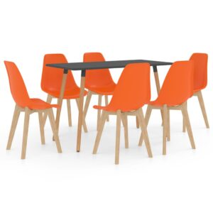 7 pcs conjunto de jantar laranja - PORTES GRÁTIS