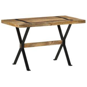 Mesa de jantar 120x60x76 cm madeira de mangueira áspera - PORTES GRÁTIS