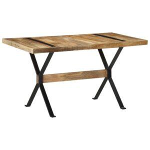 Mesa de jantar 140x70x76 cm madeira de mangueira áspera - PORTES GRÁTIS