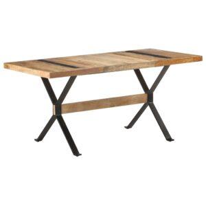 Mesa de jantar 160x80x76 cm madeira de mangueira áspera - PORTES GRÁTIS