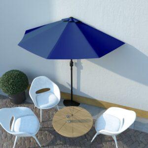 Guarda-sol c/ poste alumínio semicircular 270x135x245 cm azul - PORTES GRÁTIS