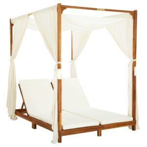 Espreguiçadeira dupla c/ cortinas e almofadões acácia maciça - PORTES GRÁTIS