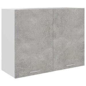 Armário de parede 80x31x60 cm contraplacado cinza cimento - PORTES GRÁTIS