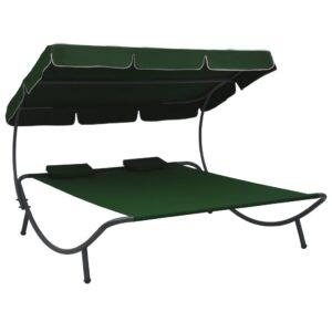 Espreguiçadeira com toldo e almofadas verde - PORTES GRÁTIS