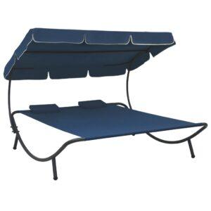 Espreguiçadeira com toldo e almofadas azul - PORTES GRÁTIS