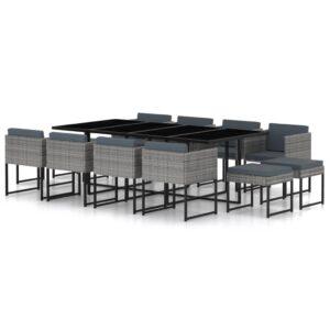 13 pcs conjunto jantar exterior com almofadões vime PE cinzento - PORTES GRÁTIS