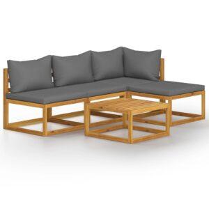 5 pcs conjunto lounge de jardim com almofadões acácia maciça - PORTES GRÁTIS