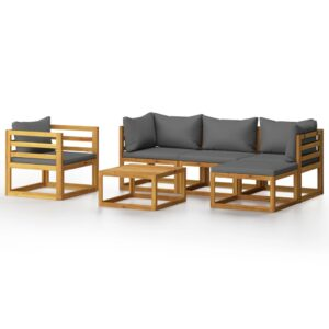 6 pcs conjunto lounge de jardim com almofadões acácia maciça - PORTES GRÁTIS